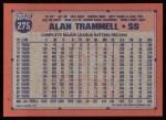 1991 Topps #275   Alan Trammell Back Thumbnail