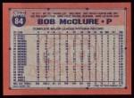 1991 Topps #84  Bob McClure  Back Thumbnail