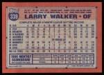 1991 Topps #339  Larry Walker  Back Thumbnail