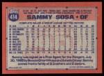 1991 Topps #414  Sammy Sosa  Back Thumbnail