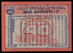 1991 Topps #415   Rick Sutcliffe Back Thumbnail