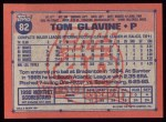 1991 Topps #82   Tom Glavine Back Thumbnail