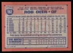 1991 Topps #192  Rob Deer  Back Thumbnail