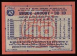 1991 Topps #47   Brook Jacoby Back Thumbnail
