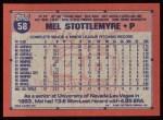 1991 Topps #58  Mel Stottlemyre Jr.  Back Thumbnail