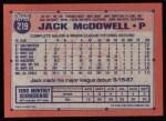 1991 Topps #219  Jack McDowell  Back Thumbnail