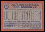 1991 Topps #330  Dwight Gooden  Back Thumbnail
