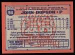 1991 Topps #94   John Dopson Back Thumbnail