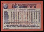 1991 Topps #329   David Justice Back Thumbnail