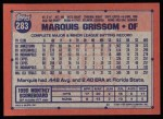 1991 Topps #283   Marquis Grissom Back Thumbnail