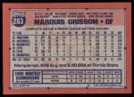 1991 Topps #283  Marquis Grissom  Back Thumbnail