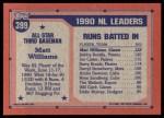 1991 Topps #399  All-Star  -  Matt Williams Back Thumbnail