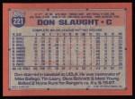 1991 Topps #221  Don Slaught  Back Thumbnail