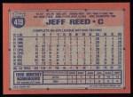 1991 Topps #419  Jeff Reed  Back Thumbnail