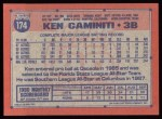 1991 Topps #174   Ken Caminiti Back Thumbnail
