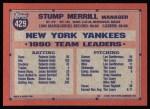 1991 Topps #429  Stump Merrill  Back Thumbnail