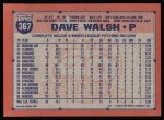1991 Topps #367  Dave Walsh  Back Thumbnail
