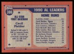 1991 Topps #386  All-Star  -  Cecil Fielder Back Thumbnail