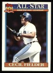 1991 Topps #386  All-Star  -  Cecil Fielder Front Thumbnail