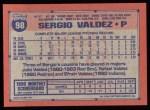 1991 Topps #98   Sergio Valdez Back Thumbnail
