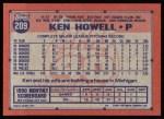 1991 Topps #209   Ken Howell Back Thumbnail