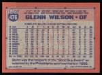 1991 Topps #476  Glenn Wilson  Back Thumbnail