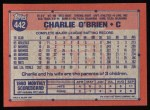 1991 Topps #442  Charlie O'Brien  Back Thumbnail
