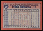 1991 Topps #20   Pedro Guerrero Back Thumbnail