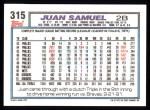 1992 Topps #315  Juan Samuel  Back Thumbnail