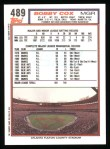 1992 Topps #489  Bobby Cox  Back Thumbnail