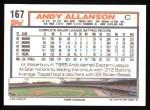 1992 Topps #167   Andy Allanson Back Thumbnail