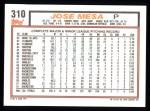 1992 Topps #310  Jose Mesa  Back Thumbnail