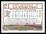 1992 Topps #242   Mike Mussina Back Thumbnail