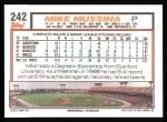 1992 Topps #242  Mike Mussina  Back Thumbnail