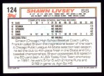 1992 Topps #124  Shawn Livsey  Back Thumbnail