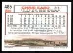1992 Topps #485   Chris Sabo Back Thumbnail