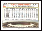 1992 Topps #292  Ray Lankford  Back Thumbnail