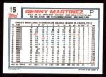 1992 Topps #15   Dennis Martinez Back Thumbnail