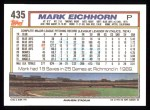 1992 Topps #435   Mark Eichhorn Back Thumbnail