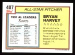 1992 Topps #407   -  Bryan Harvey All-Star Back Thumbnail