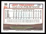 1992 Topps #99  Jeff Treadway  Back Thumbnail