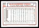 1992 Topps #337   Alejandro Pena Back Thumbnail