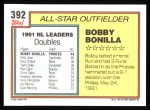 1992 Topps #392  All-Star  -  Bobby Bonilla Back Thumbnail