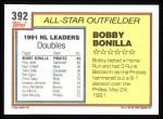 1992 Topps #392   -  Bobby Bonilla All-Star Back Thumbnail