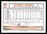 1992 Topps #361   Barry Jones Back Thumbnail