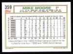 1992 Topps #359  Mike Moore  Back Thumbnail