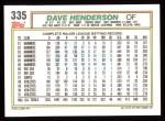 1992 Topps #335   Dave Henderson Back Thumbnail