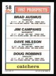 1992 Topps #58  Brad Ausmus  Back Thumbnail