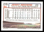1992 Topps #219   Jerry Browne Back Thumbnail