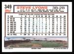 1992 Topps #349   Steve Lyons Back Thumbnail